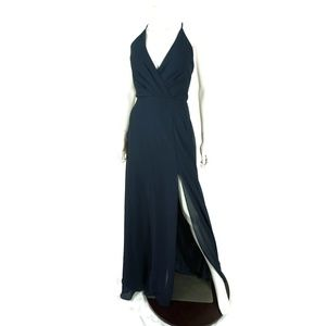 NWOT Jenny Yoo Farrah Ruffle Skirt Gown Navy Blue